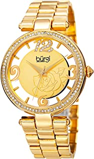 Burgi Women'S Gold Dial Alloy Band Watch - Bur148Yg,