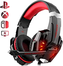 Auriculares Gaming PS4, Galopar Cascos Gaming, Premium Stereo con Microfono Gaming Headset con 3.5mm Jack para PC/Xbox One/Móvil - con Gancho y 2 x Cable de Extensión-Rojo