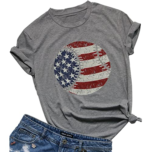 9053d6f8a FAYALEQ Women's Merica USA Flag Baseball Printed T-Shirt O-Neck Causal Tee  Tops