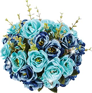 Kiss Garden Artificial Silk Flowers Rose - Pack of 2 Home Wedding Bouquet Décor - Fake Flowers for Office Table, Room Decoration, Party, Centerpieces, Baby Shower, DIY