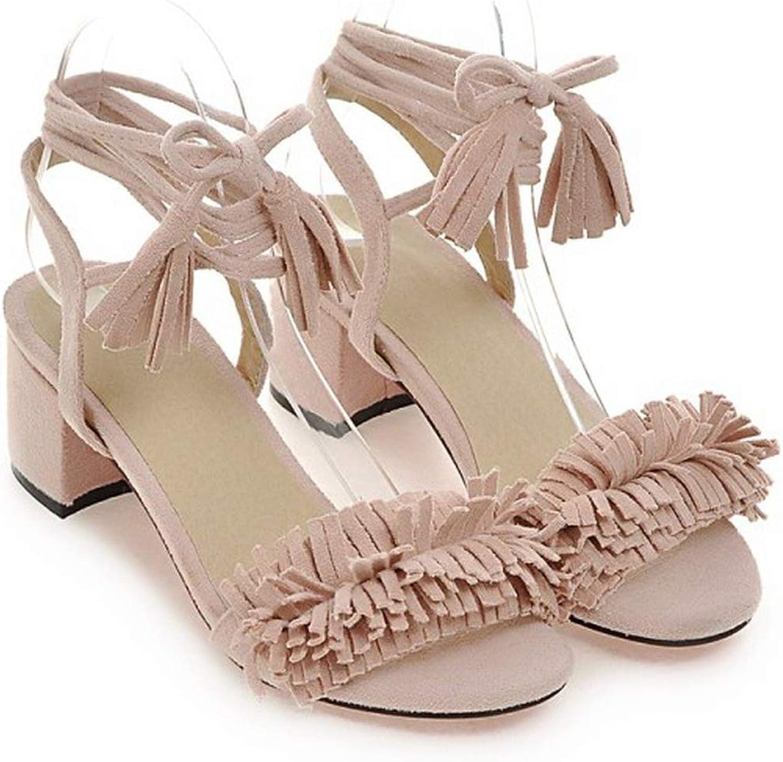 Spring Summer Bohemia Rome Beach shoes Cross Strap Thick Heel Tassel Womens shoes,4,7