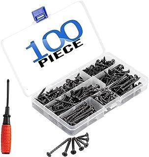 Litorange 木ネジ 十字穴付皿 100本入 スクリューネイル ネジ釘 7サイズセット スレッドサイズ 3.5mm x 16 mm/20mm/25mm/30mm/40mm/50mm 家具 DIY 木工 固定 修理ツール 収纳ケース付き