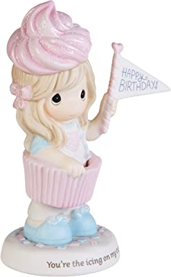 Precious Moments 193019 Cupcake Girl with Ice Cream Cone Bisque Porcelain Figurine, One Size, Multicolor
