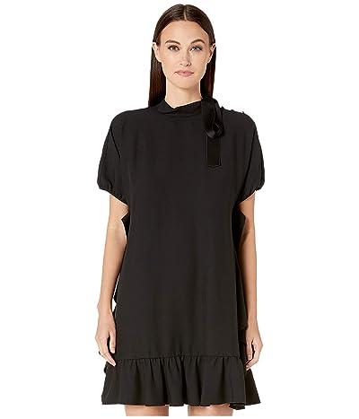 RED VALENTINO Crepe Envers Satin Dress (Nero) Women