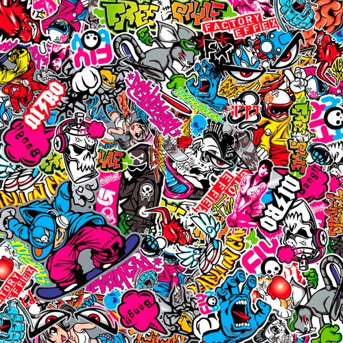 AUTOSTYLE EC-EL233 Stickerbomb-Folie Graffiti-Design, 60 x 200 cm, 1 Rolle