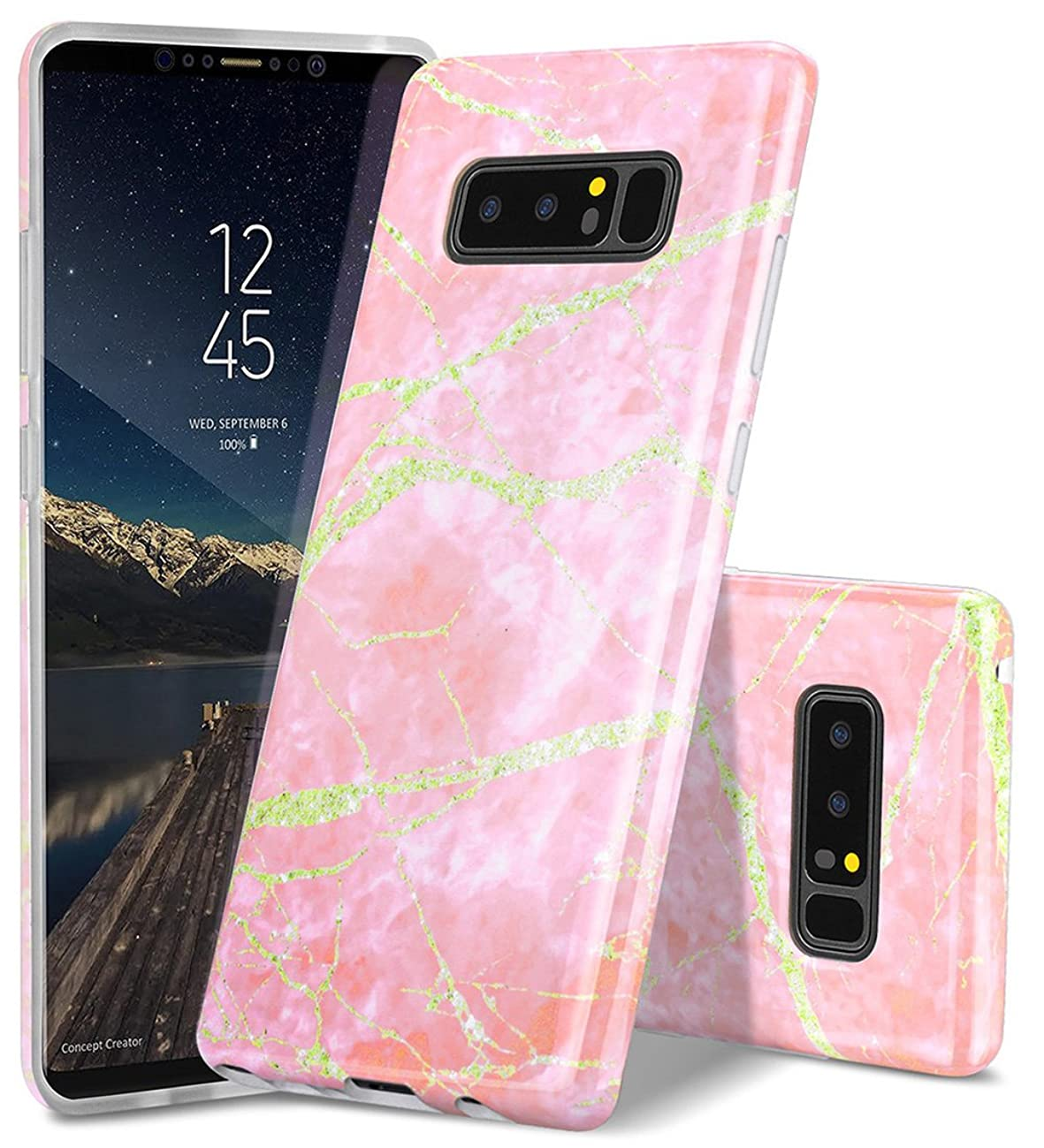 WORLDMOM Galaxy Note 8 Case, Luxury Marble Lightning Texture Design Slim Soft Flexible TPU Rubber Hybrid Shockproof Protective Phone Case for Samsung Galaxy Note 8 (2017), Pink