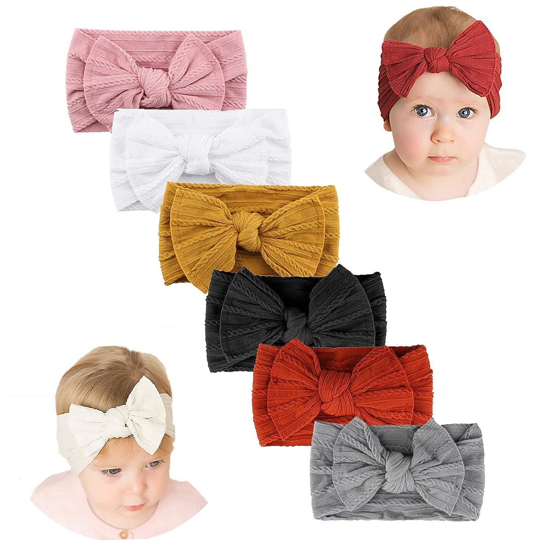 Makone Handmade Baby Headbands with Bows Stretchy Nylon Headbands for Infant Baby Girls Christmas Xmas Gifts