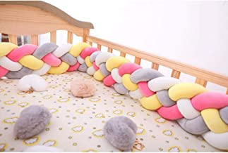 YANGBM Mixed Color Bedside Protector, Soft Knotted Sides Protector, Machine Washable Newborn Gift Nursery Decor, Suitable ...