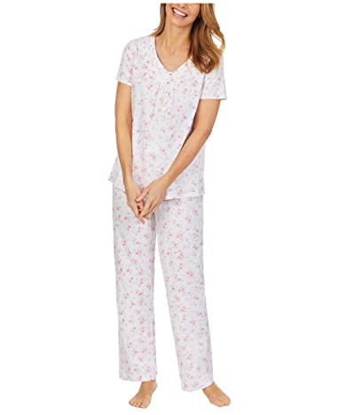 Carole Hochman Soft Jersey Short Sleeve Long Pajama Set (Small Pink Floral) Women