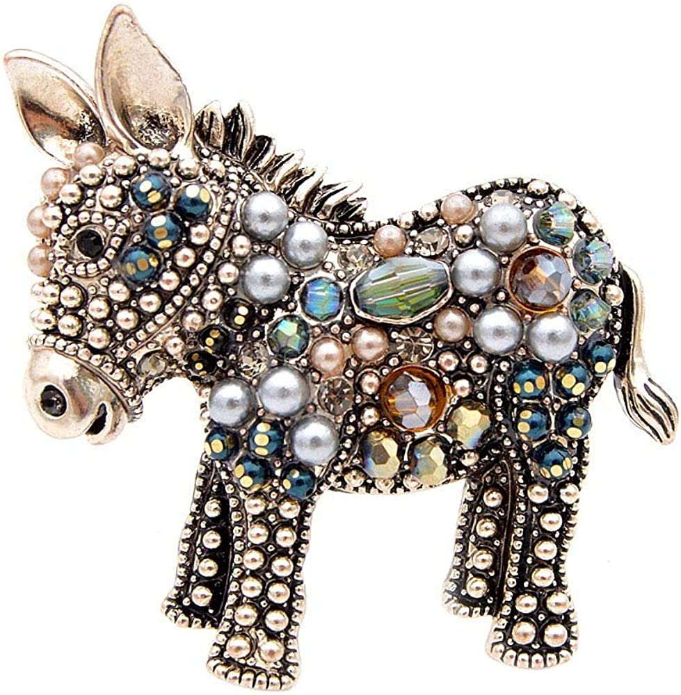 Powerwin Cute Beads Donkey Brooches for Women Fashion Jewelry Animal Pins Elegant Coat Accessorie