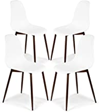Poly and Bark Landon Contemporary Kitchen Dining Sculpted Mid-Century Side Chair, White (Set of 4)