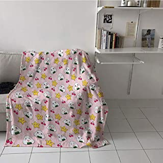 SunsethomeDeco Children's Blanket Boys Lightweight E x tra Big (35 by 60 Inch,Anime,Funny Pattern with Japanese Rice Balls Cherries and Stars Childish Food Cartoon Print,Multicolor