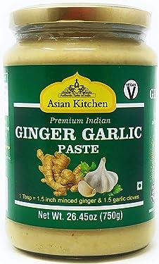 Asian Kitchen Ginger-Garlic Cooking Paste 26.5oz (750g) ~ Vegan   Glass Jar   Gluten Free   NON-GMO   No Colors   Indian Origin
