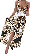Zomerjurk voor dames, casual losse losse flowy jarretelrok digitaal bedrukt V-hals split dweilen jurk strand lange jurk