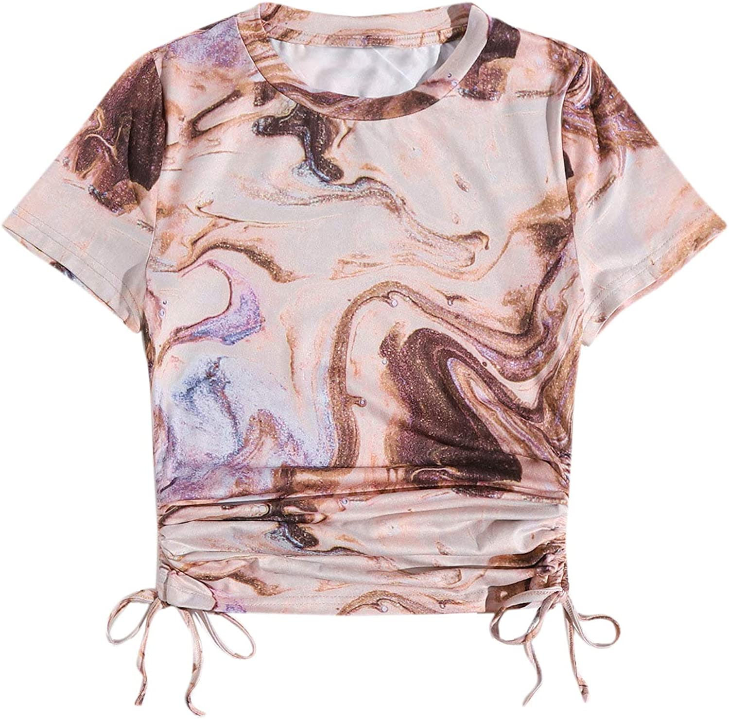 SheIn Women's Marble Print Short Sleeve Crop Tee Drawstring Side Ruched Top T Shirt