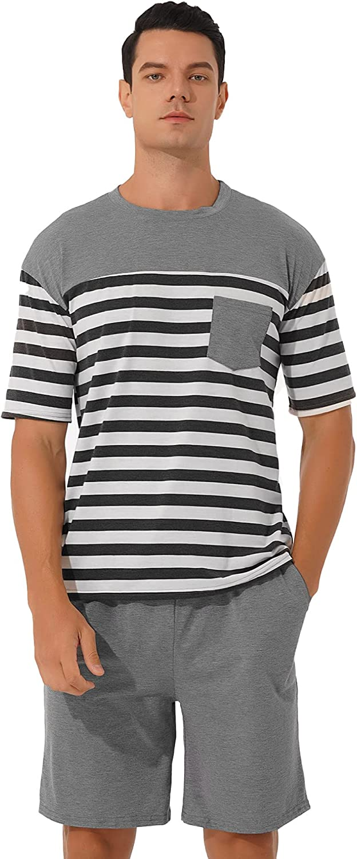 FEESHOW Men's Pajama Set Striped Summer Short Sleeve 2 Piece PJ Set Sleepwear Loungewear