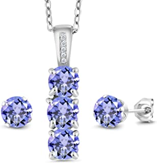 Blue Tanzanite and White Diamond 925 Sterling Silver Pendant Earrings Set 2.34 Cttw Gemstone Birthstone with 18 Inch Silver Chain