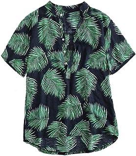 Hapeisy Men's Short Sleeve Lightweight Hawaiian Tropical Patterns Shirts 3D Print Short Sleeve Tropical Polyester Shirts