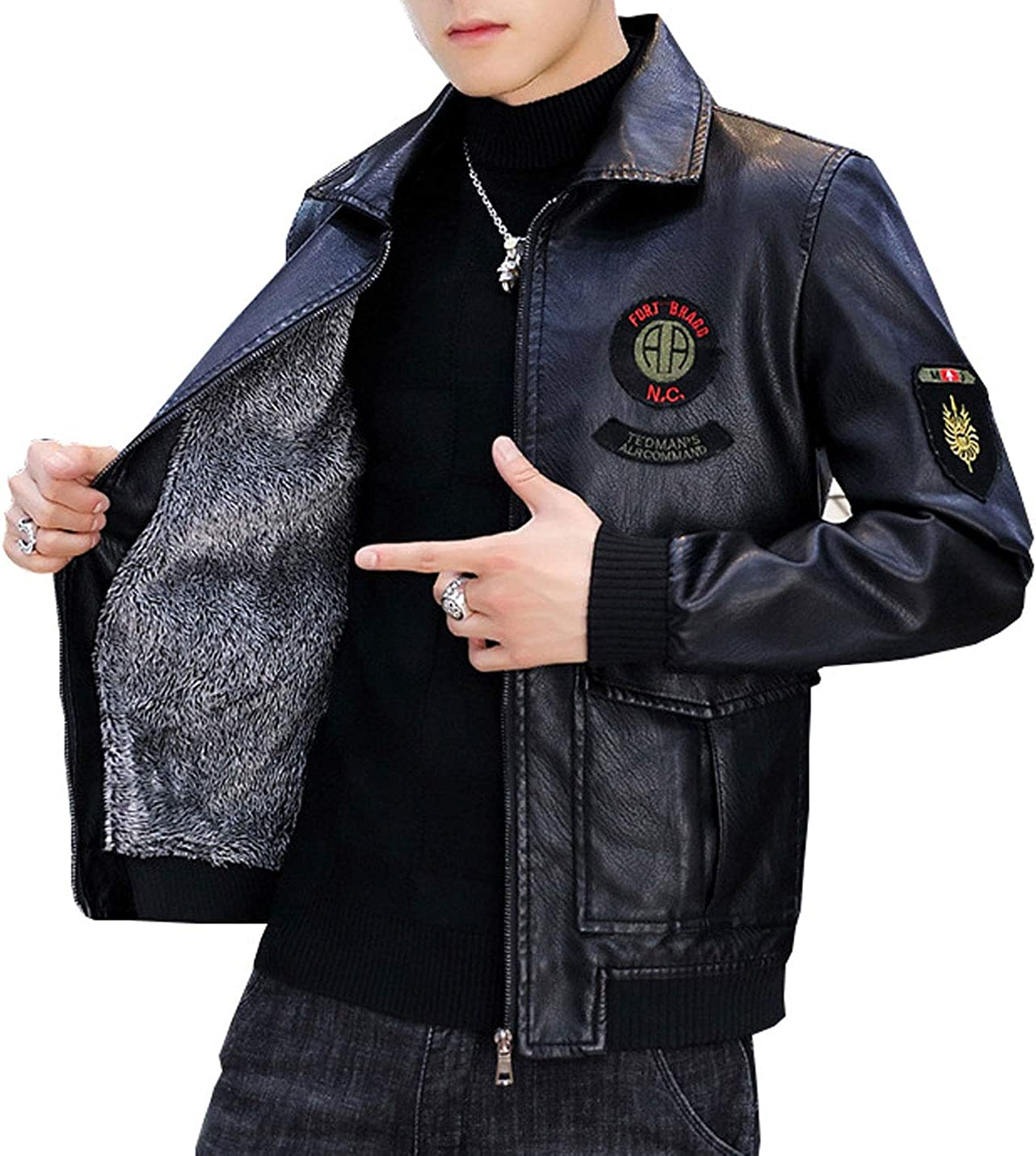 Flygo Men's Classic Winter Full Zipper Thermal Sherpa Lined Lapel PU Leather Jacket Outerwear