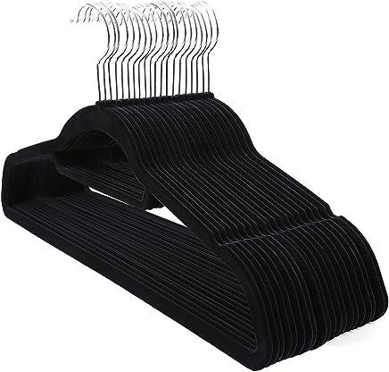 SONGMICS Cintres en Velours, Lot de 20, Crochet pivotant à 360°, Antidérapant, pour Costumes Chemises Robes Cravates, Noir CRF20B