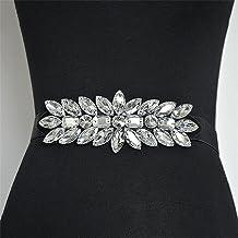 SSMDYLYM 2.5 Cm Brede Strass Riem Dames Mode Jurk Wilde Kristallen Kralen Elastische Taille Zegel Voor Bruiloft Gordel (Co...