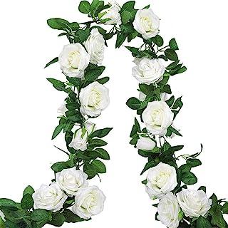 AGEOMET 3pcs 19.5ft Fake Rose Garland, Artificial Silk White Flower Vines, Hanging Floral Garland, Wedding Flowers String ...