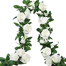 AGEOMET 3pcs 19.5ft Artificial Rose Vine Fake Silk Rose Hanging Vine Flowers Garland for Outdoor Wedding Arch Garden Wall ...