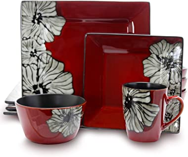 Elama Stoneware Dinnerware Collection, 16 Piece, Red with White Flower Accents