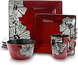 Elama EL-WINTERBLOOM Luxurious Winter Bloom 16 Piece Dinnerware Set with Complete Settign for 4, 16pc, Red with flower design