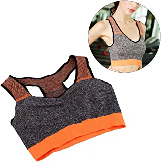 High Intensity Sports Bra Vest Seamless Stretchy Breathable Fitness Underwear for Fitness Gym Yoga Running (Orange Free Size)