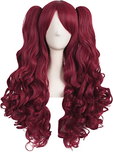 MapofBeauty 28 Inch/70cm Lolita Long Curly 2 Ponytails Clip on Cosplay Wig (Blood Red)