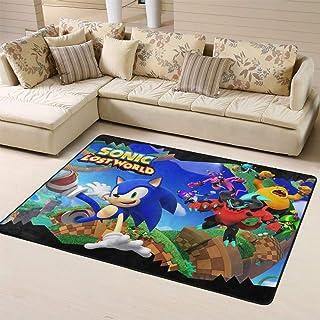 Zmacdk Alfombra Sonic Force para sala de estar, dormitorio, alfombra fácil de limpiar, para dormitorio de niños, 5 x 6 pie...