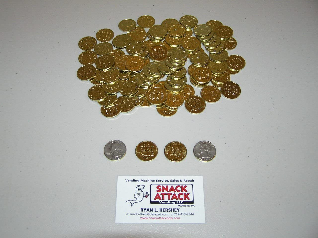 100 Amusement Vending Machine 0.984 Tokens Brass Department store Coins - Pl or Product