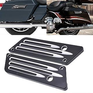 TUINCYN Motorrad Satteltasche Latch Cover Schwarz Motorrad Hinten Dekoration Zubehör für Harley Street Glide Ultra 1993 2013 (Packung mit 2)