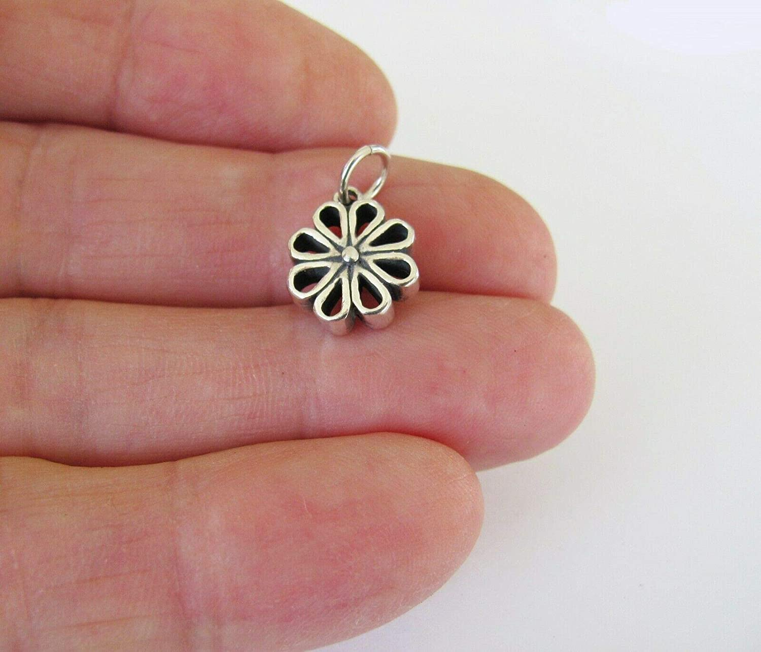 Sterling Silver 12mm Created Flower C DIY Jewelry Making excellence Recommended Charm-