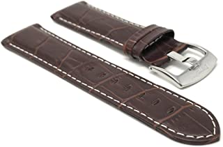 Bandini Mens Leather Watch Band Strap - Alligator Pattern - with or Without Stitch - 8 Colors - 18mm, 20mm, 22mm, 24mm, 26mm