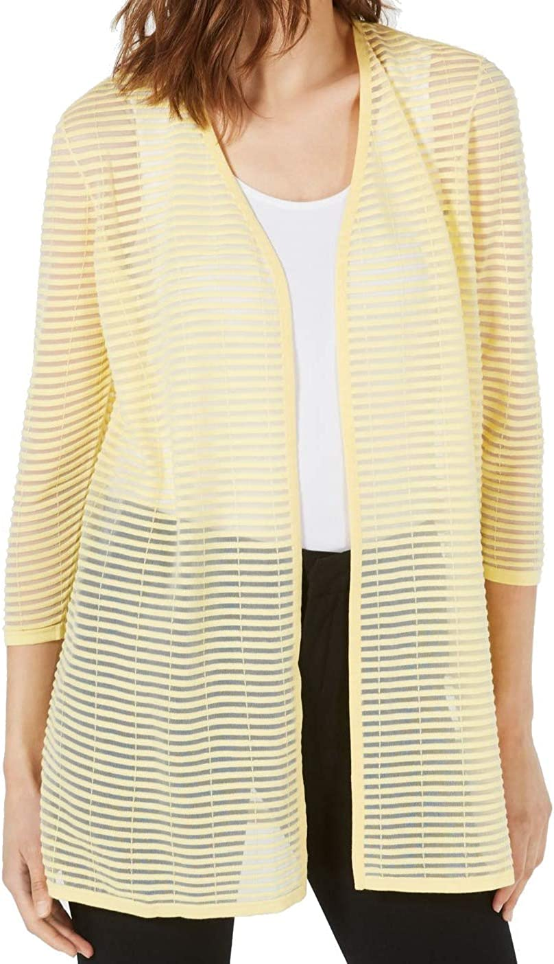 Alfani Womens Yellow Striped Open Cardigan Top Size XL