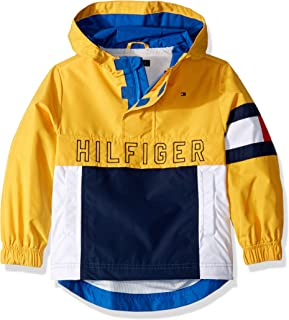 TOMMY HILFIGER Mens 7185101 Adaptive Hooded Popover Jacket with Extended Zipper Pull Jacket - Yellow