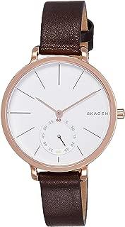 Skagen Denmark Women's Hagen Watch in Rose Goldtone with Dark Brown Leather Strap and White Dial