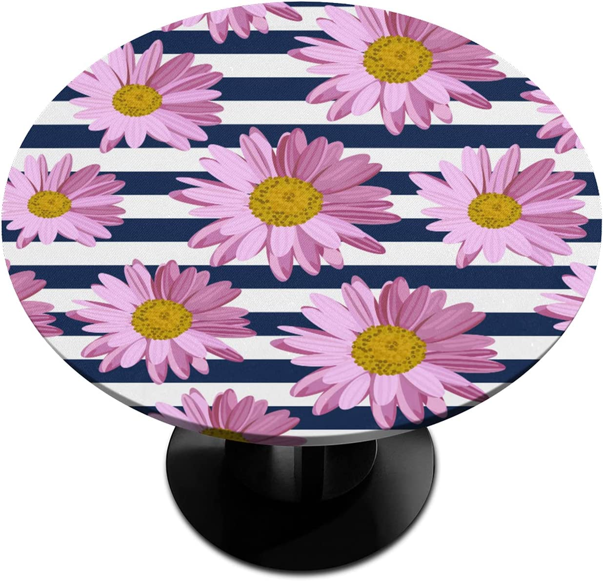 Round Fitted Tablecloth Safety and trust with Elastic Edged Genuine Flower Daisy Stripe