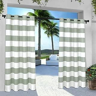 Exclusive Home Curtains Indoor/Outdoor Stripe Cabana Window Curtain Panel Pair with Grommet Top, 54x96, Sea Foam, 2 Piece