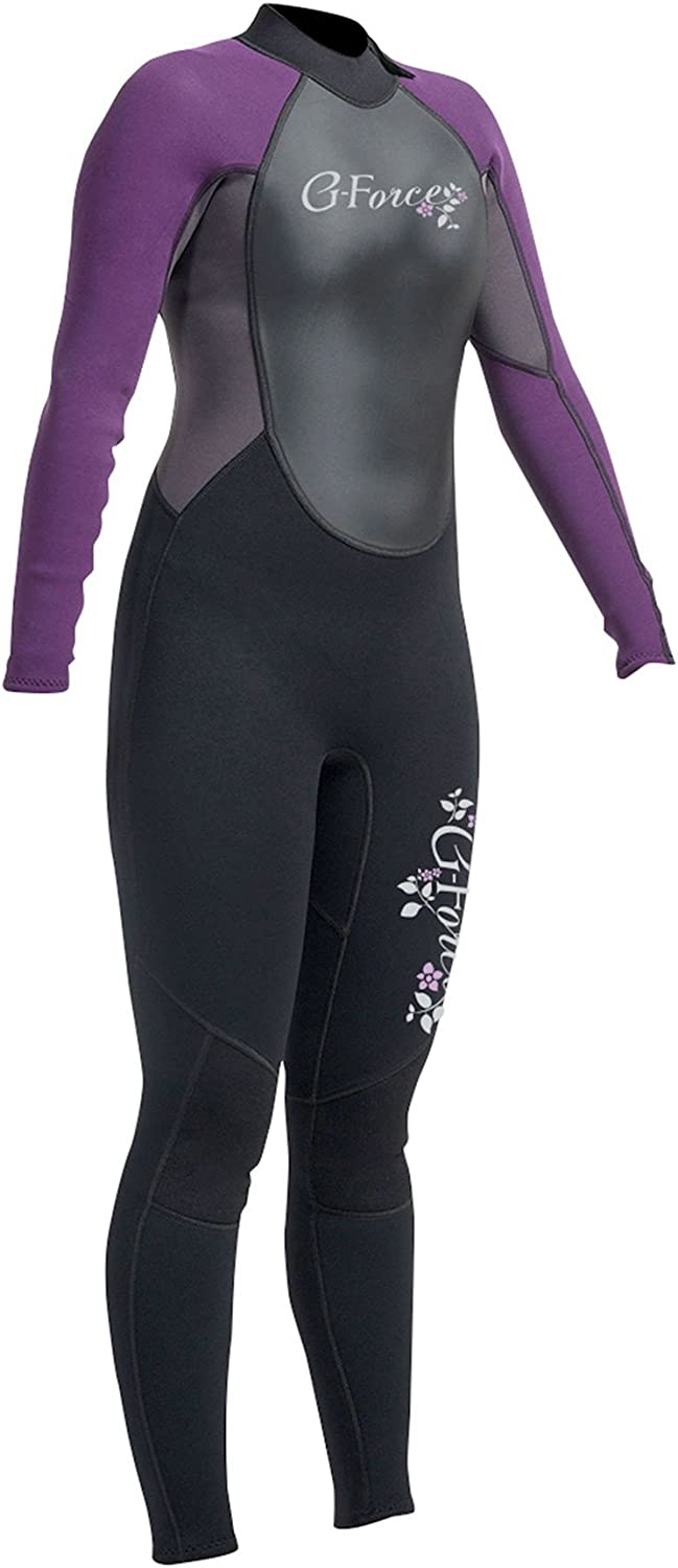 Gul G-Force 3MM Womens Back Zip Steamer Wetsuit Black Mulberry100% D-Flex panels for durabilityVelcro adjustable neck