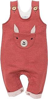Pinokio Happy Llama - Overall Baby Mädchen/Jungen - 100% Baumwolle - Latzhose mit Knöpfen Unisex | Ziegelrot Rot | 62,68,74,80,86
