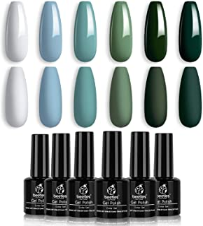 Beetles Blue Green Gel Nail Polish Set - 6 Colors Misty Gray Dark Green Gel Polish Kit Baby Blue Nail Gel Polish Soak Off ...