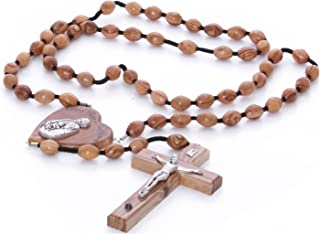 Zuluf Large Wall Rosary Hanging Bethlehem Olive Wood Large Rosary with Silver Crucifix with Gift Box and Certificate | Cat...