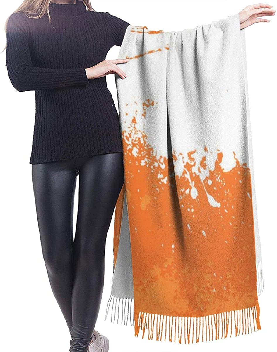 Orange Background Cashmere Shawl Wrap Scarf Large Warm Scarf For Women