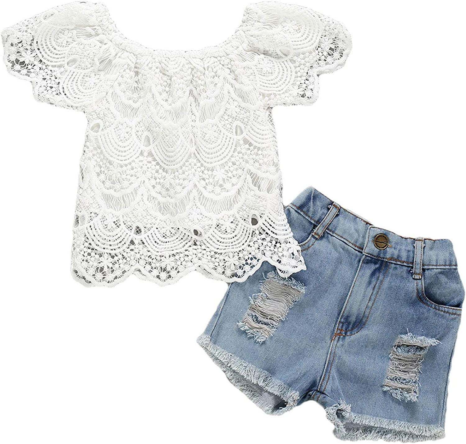 Toddler Baby All items free shipping Girl Summer Clothes Oklahoma City Mall Ruffle Lace T-Shir Sleeve Short