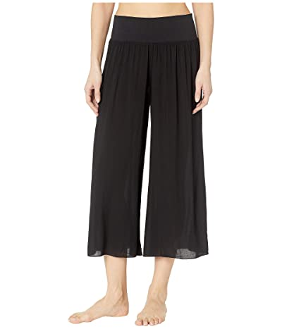 Hard Tail Flat Waist Boho Capris (Black) Women