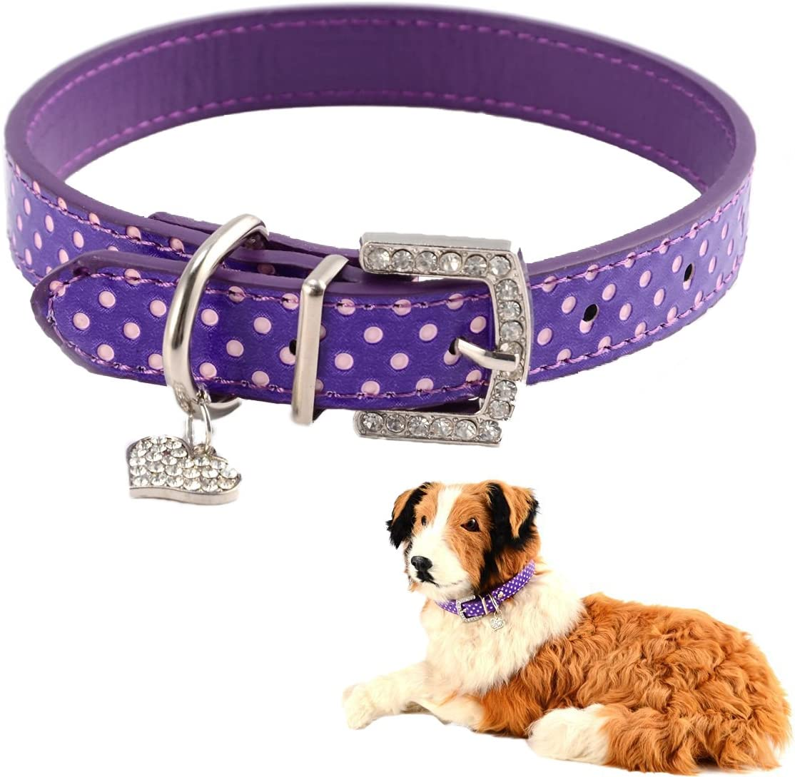 Mummumi Small Dog Collar Max 89% OFF Cat PU Dots excellence Adjustable Leather