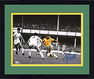 """Framed Pele Brazil Autographed 11"""" x 14"""" Spotlight Dribble Photograph Signed in Blue - Fanatics Authentic Certified"""